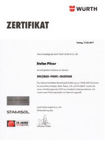 Zertifikat der Zimmerei Pitzer